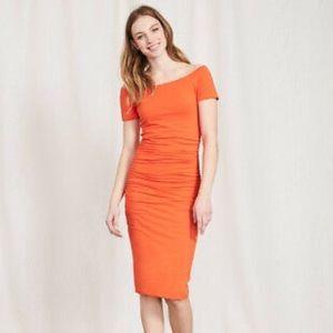 Boden Ruched Off Shoulder Dress Orange 4P